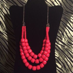Jewelry - Three strand red beaded necklace